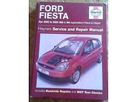 Haynes Manual for Ford Fiesta 2002-2005 and a Warranty / Service Guide & a Ford Wallet