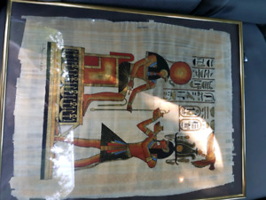 2 Egyptian paintings on papyrus paper