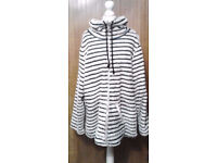 Ladies Navy Blue and Cream Striped Breton Style Funnel Neck Jacket.Size 20/22.