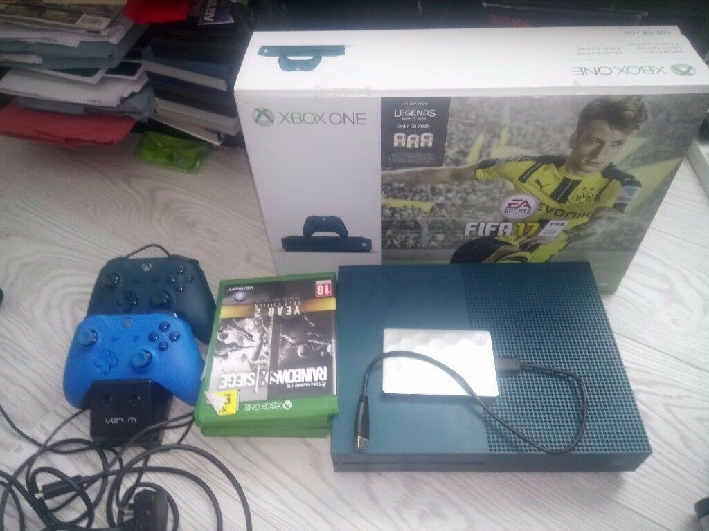 Xbox One S Blue 500GB ,6 games,2 controllers, external hard drive