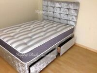 ★★ SILVER/BLACK ★★ CRUSHED VELVET DIVAN BED ★★ WITH MATTRESS SINGLE,DOUBLE AND KING SIZE