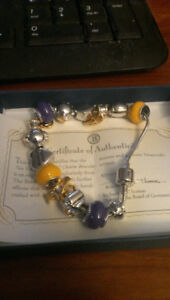 Minnesota Vikings charm bracelet with 24 kt gold plated charms