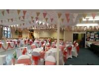 10 x 40 ft lengths of red gingham, floral and Hessian bunting