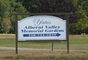 Double Cemetary Plots Alberni Memorial Gardens Port Alberni BC
