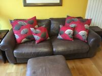 Brown Leather Sofa and Footstool