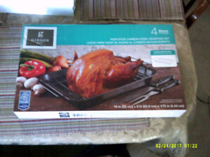 Non-Stick Carbon Steel 4 piece Roasting Set New in Box.Plus more