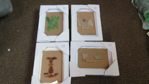 4 different beach glass art by Deb Humen