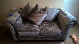 silver velvet 2 seater sofa