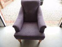Moulton Easy Chair 'Eccleston Plum' Light Feet