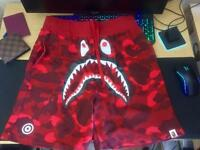 Bathing Ape (BAPE) Red Colour Camo Shark Sweat Shorts (M)