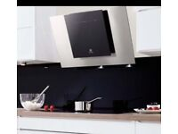 Designer Cooker hood Electrolux Eff80680bx Angled Glass Black And Stainless Steel