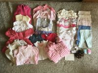 Large bundle of baby girl clothes 3-6M