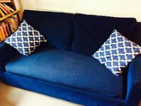 Blue pull-out sofa bed