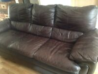 3 Seater Brown Leather Sofa and 2 Armchairs (can be bought separately)