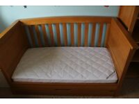 Mamas & Papas Ocean Cot/Day Bed with storage drawwer and mattress