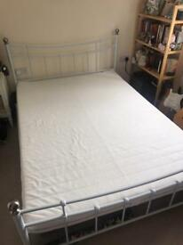 Double IKEA foam mattress and white metal bed frame