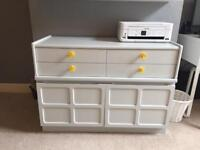 Hand Painted Light Grey Vintage Sideboard/Cabinet