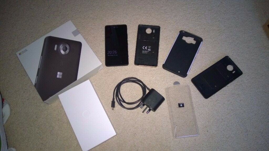 Microsoft Lumia 950 Mobile Phone Black 4G Boxed Windows 10 32GB SmartphoneExtra Cases 650 640 XLin Milton Keynes, BuckinghamshireGumtree - Microsoft Lumia 950 smartphone for sale. In full working order, still in really good condition. Shows only a few minor signs only on the back cover. The screen is in excellent condition. Phone is on Vodafone UK. Im only selling it all because Ive...