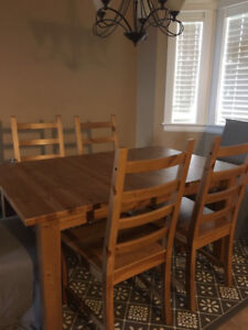 DINNING SET 4 plus 2 chairs  ikea Bjursta model
