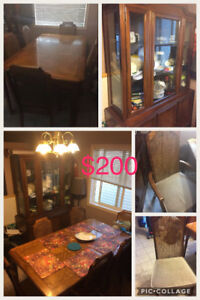 Solid wood dining room set with buffet Hutch+table with 6 chairs