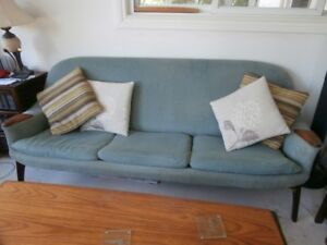 70's Vintage soft blue TEAK sofa