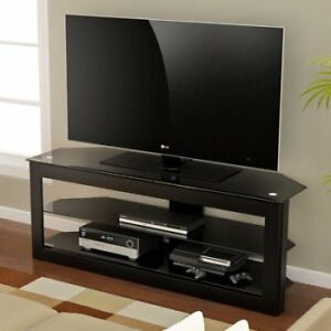 Z-Line Black Glass Top TV Stand