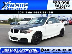 2011 BMW 1-SERIES 135i TUNED $249 bi-weekly APPLY NOW DRIVE NOW