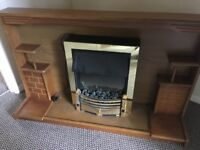 Free Wooden fire surround with coal effect heater