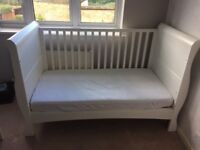 Izziwotnot sleigh cot bed white with baby top changer