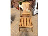 Teak steamer chair/recliner