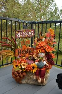 Beautiful Handcrafted Fall front entrance display