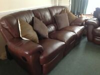 Good condition 3 seater leather sofa + 2 single chairs (all fitted with reclining )