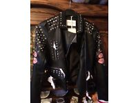 Faux leather floral studded jacket size 8-10
