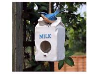 Novelty Milk Carton Bird House Hatching & Nesting Box for Small Garden Birds