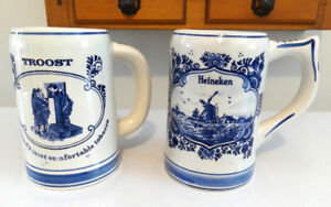 VINTAGE HEINEKEN and TROST, BEER MUG, BLUE DELFT