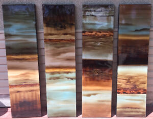 4 Pieces of Abstract Art- Black, Brown, Tan, and Turquoise