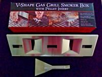 V-SHAPE GAS GRILL SMOKER BOX - BRAND NEW - STAINLESS STEEL - WITH PELLET INSERT - ADD SMOKEY FLAVOUR