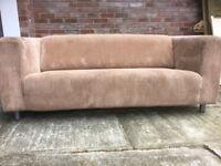 Brown 3 seater corduroy sofa