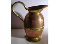 vintage copper and brass jug