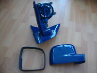 Genuine 2004 VW Transporter T5 offside wing mirror without glass. Indian blue.