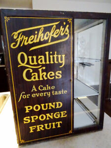 1920 FREIHOFER QUALITY CAKES bakery display cabinet ADVERTISING
