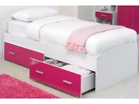 Brand New High Gloss Storage Bed High Gloss Pink and White 2 Drawers !