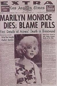 """L.A.TIMES newspaper-*EXTRA EDITION* """"MARILYN MONROE DIES"""""""