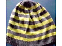 Ladies Grey Marl and Bright Neon Green Striped Knit Beanie Hat-One Size Fits All.