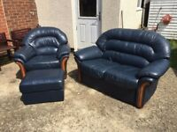 2 Seater Sofa, Settee With Wood Trim, Armchair and matching Pouffe