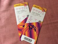 Two World Championship tickets 11/08/17 (£ 50 tickets)
