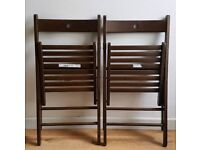 2 x IKEA Terje Folding Brown Wooden Chairs