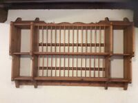 Antique Pine Large Plate and Cup Rack
