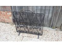 Large Vintage Cast Iron Fire Screen