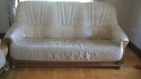 Cream Leather Suite Sofa